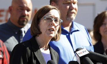 """Armed Pro-Gun Advocates Burned An Effigy Of Oregon Gov. Kate Brown Her response? """"They're going to run out of mannequins"""" before she caves on gun control."""