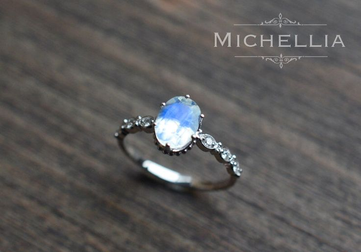 White Gold Moonstone Engagement Ring with Diamond, 14K 18K Gold Rainbow Moonstone Crown Promise Ring, Blue Moonstone, Vintage Moonstone Ring by MichelliaDesigns on Etsy https://www.etsy.com/listing/271286217/white-gold-moonstone-engagement-ring