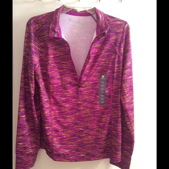 New long sleeve workout top Bright beautiful colors, light weight has a shirt zipper at the top. 93% polyester 7% spandex Xersion Tops