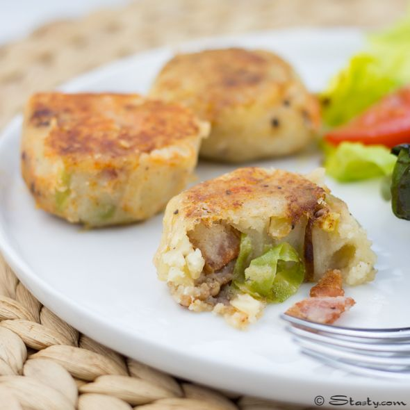 Buttery bacon and cabbage potato cakes. The perfect St. Patrick's Day snack