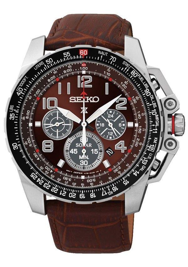 Seiko #SSC279 Men's Prospex Solar Leather Band Burgandy Dial Chronograph Watch