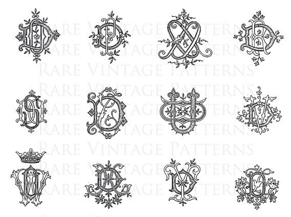 FRENCH MONOGRAMS STENCIL 5x Files Jpg Png by RareVintagePatterns