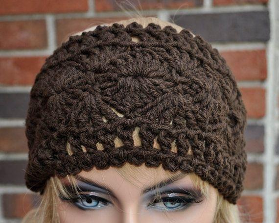 Crochet Headwrap, Womens Crochet Headband in Chocolate Brown.Winter head accessory, Style 1