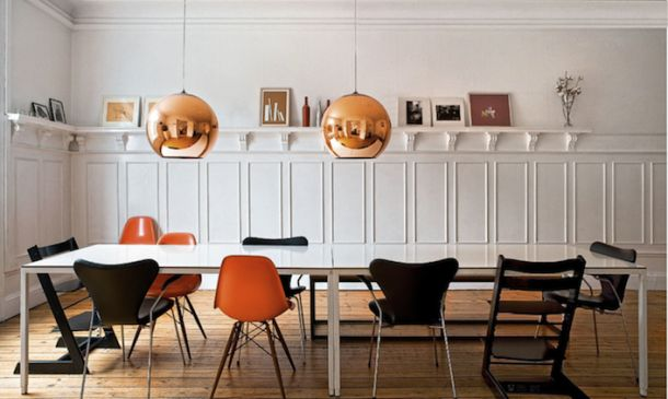 Danish apartment tones - orange, bronze, black and white - made for each other!