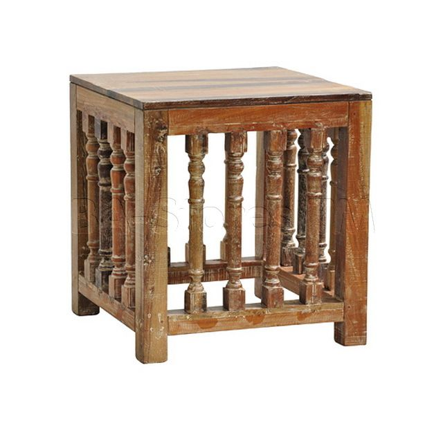 classic home furniture reclaimed wood. Reclaimed Wood End Table With Turned Post Detailing And A Lime Wash Finish. Product: TableConstruction Material: WoodColor: WashFeatures: Classic Home Furniture