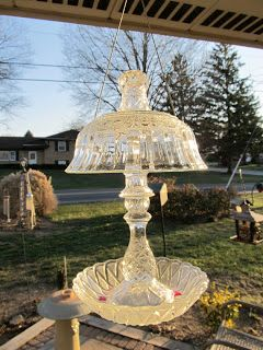 Bird Feeder from Recycled Vintage Glass