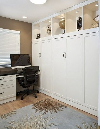 murphy bed idea for spare room/office...love the shelving to the ceiling and the downlights