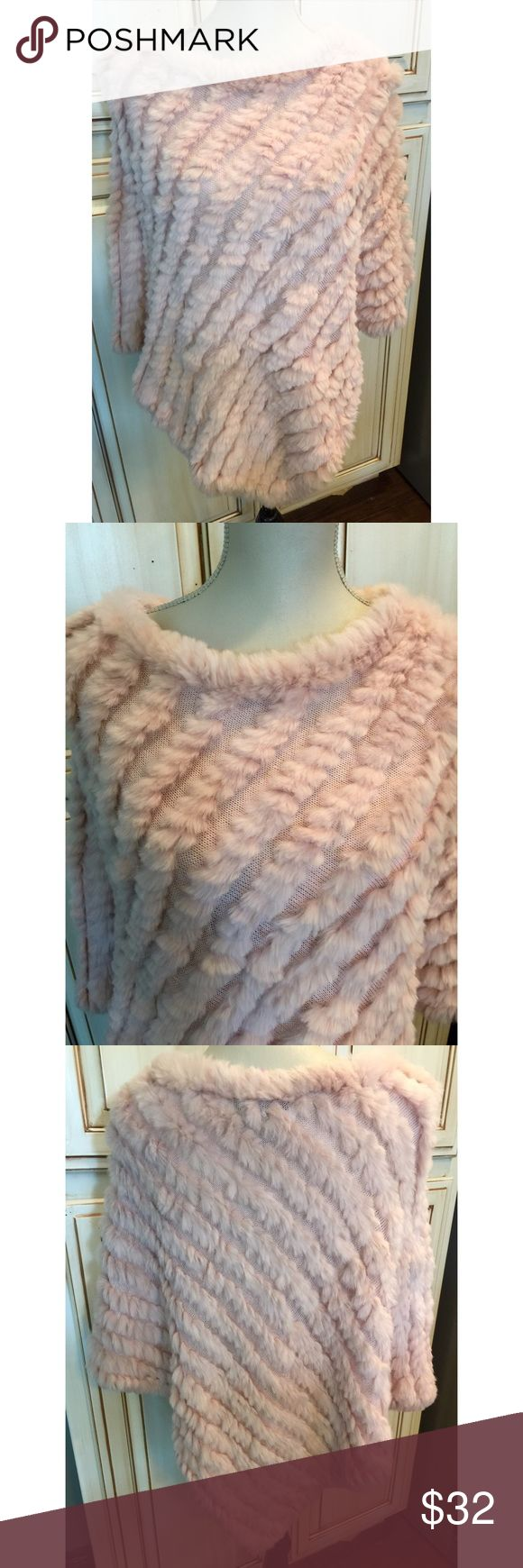 Studio 512 Blush Rabbit Fur Poncho 💕 Studio 512 one size fits all blush tinted rabbit fur poncho. So soft and dainty! Love this! 💕 Studio 512 Tops