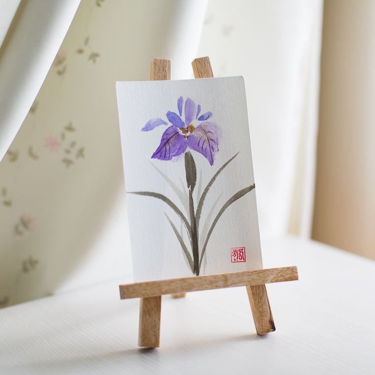 iris, sumi-e, ink painting, chinese ink painting, postcard, etegami, handmade postcard, hand drawn postcard, watercolor, gansai color