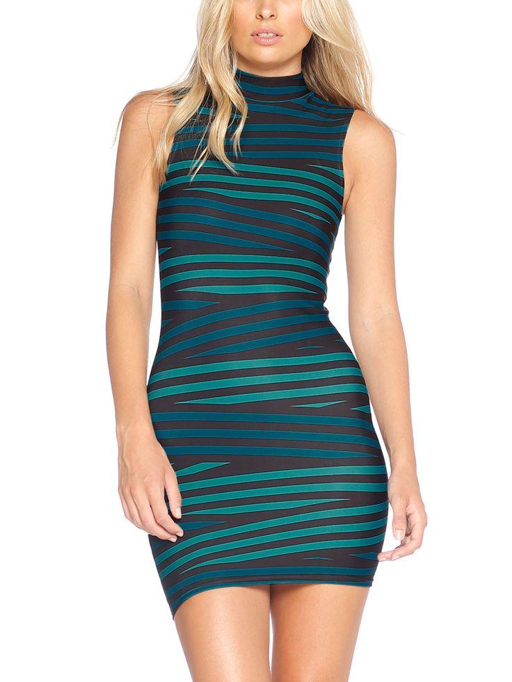 Tape Teal High Neck Toastie Dress - LIMITED (AU $90AUD / US $60USD) by Black Milk Clothing