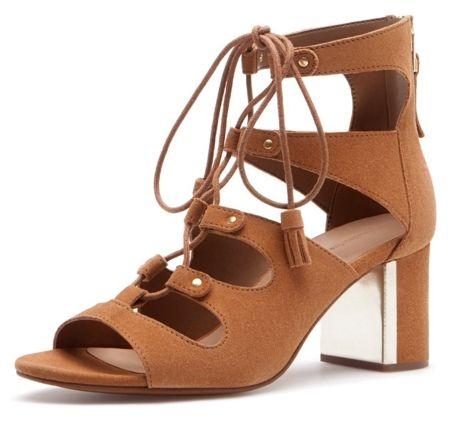 Stradivarius Skórzane rzymianki sznurowane sandały na kostkę