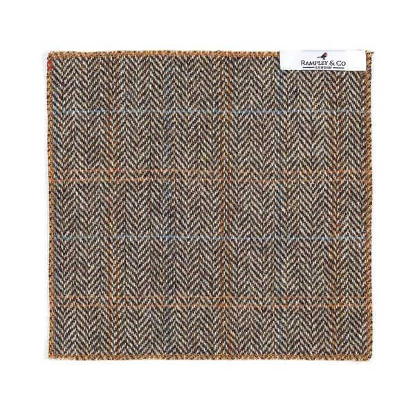 Orange Hemmed Herringbone Tweed Pocket Square.