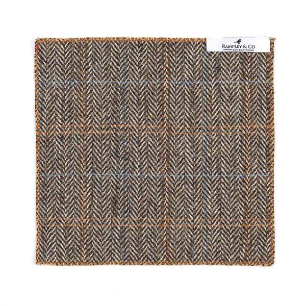Orange Hemmed Herringbone Tweed Pocket Square.