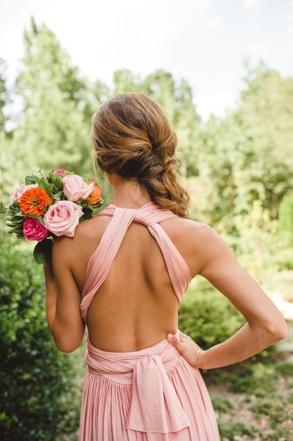 blush dress with open back. #spring