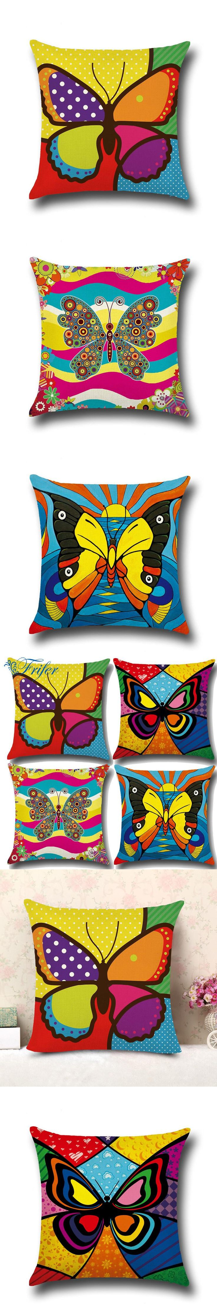 1pc 45x45cm Cushion Cover Linen Colorful Butterfly Patchwork Pillowcase Decorative Vintage Pillow Case for Sofa Bedroom Car