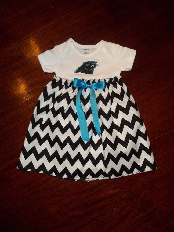 Carolina Panthers Baby Dress Gown Chevron by SewSweetTs on Etsy, $25.00