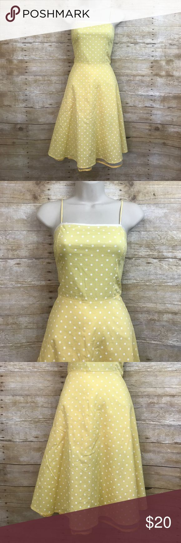 """Yabes Yellow Polka Dot Pinup 50's Inspired Dress Yabes Brand - Size Medium - Yellow/White Polka Dot Sleeveless Pinup 50's inspired dress - Built in mesh slip with yellow trim - zips up in back - excellent condition - pet and smoke free home - FAST SHIPPING!! / Measurements: Waist 30"""" (stretchy) Length 37.5"""" Bust 37"""" Yabes Dresses Midi"""