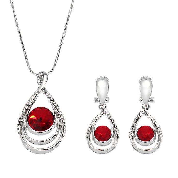Elegant Women Bridal Jewelry Set 5 Color Drop Shape Gemstone Crystal Clavicle Necklace Earrings at Banggood