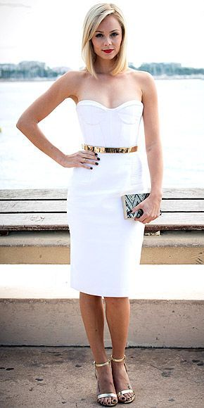 white dress + gold belt + sequined chevron clutch