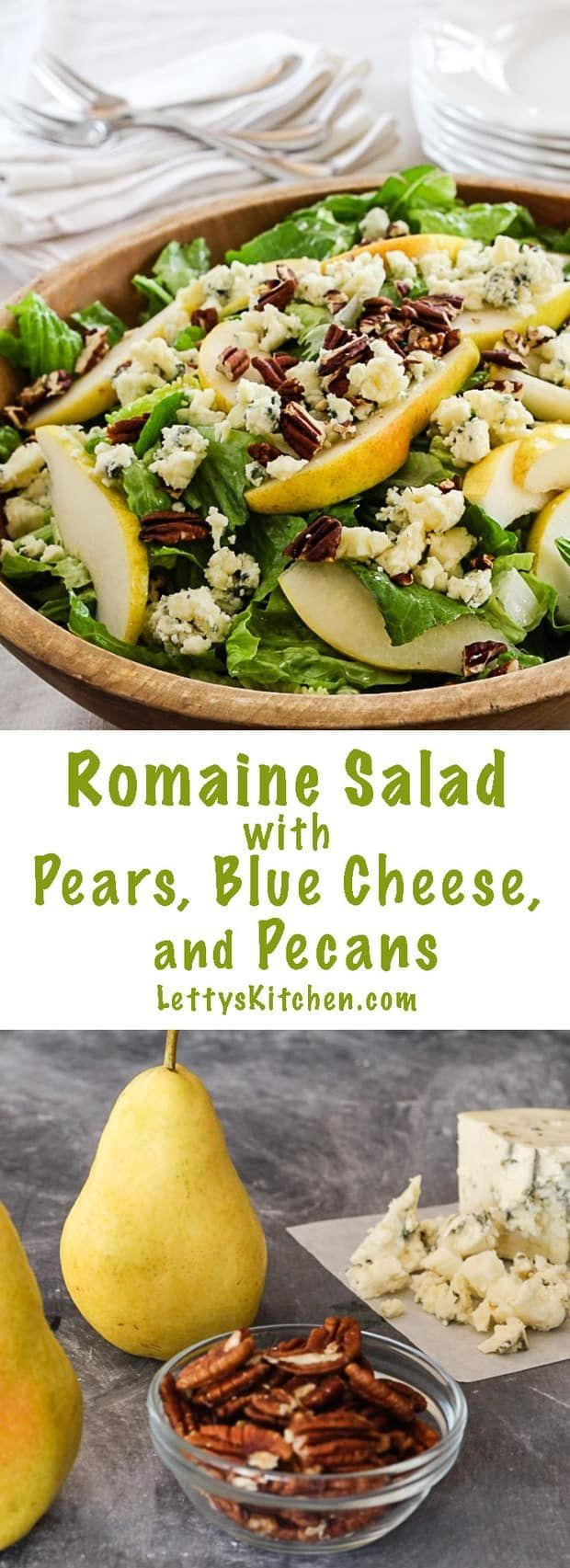 Romaine Salad with Pears, Blue Cheese and Pecans via @lettyskitchen