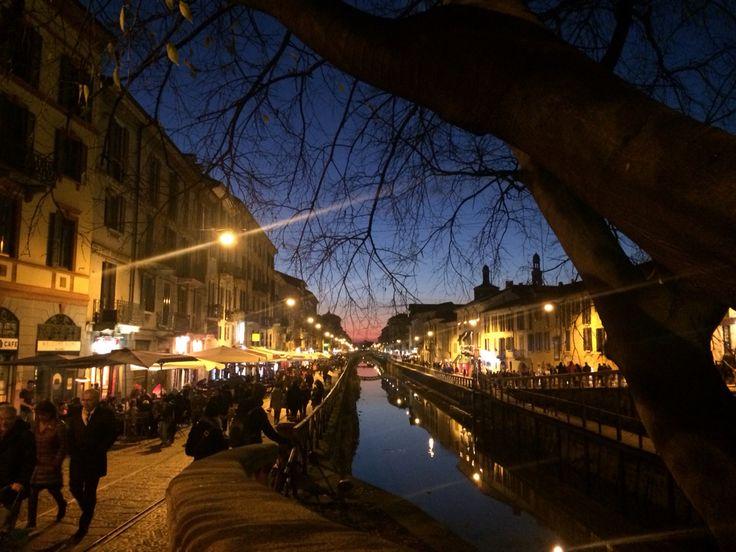 Navigli area of Milan by night