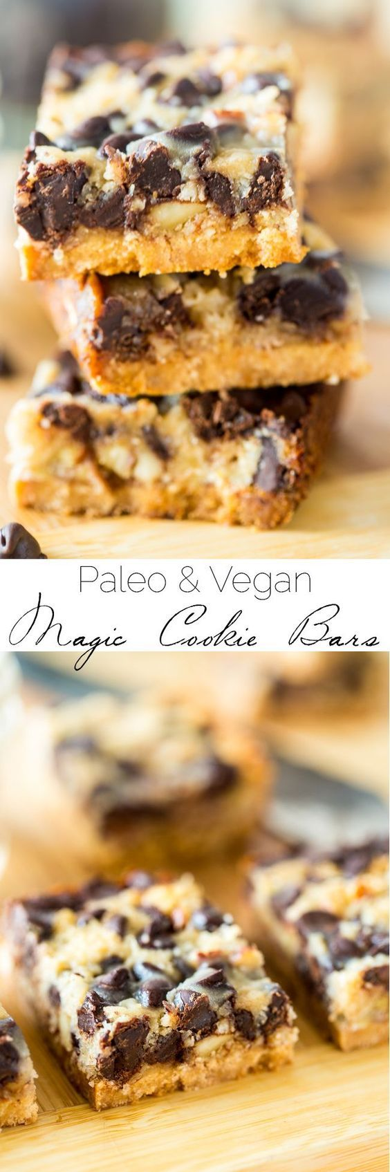 Paleo and Vegan Magic Cookie Bars - These magic cookie bars are a healthier remake of the classic dessert! You'll never know they're gluten, grain, dairy and refined sugar free!