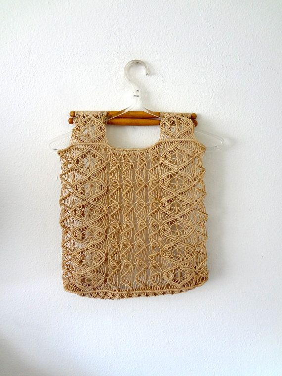 1970s Macrame Purse / Bohemian Handbag / Vintage Tote
