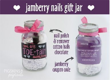 Jamberry gifts in a jar. Purchase a Jamberry gift card or buy wraps @ http://taneshagambling.jamberrynails.net
