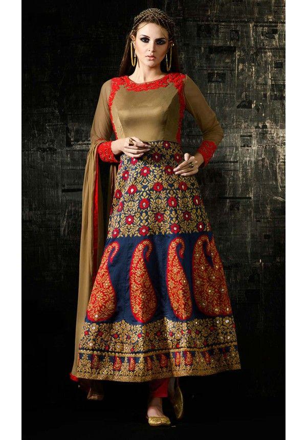 Brown and Blue Hued Designer Anarkali Salwar Suit