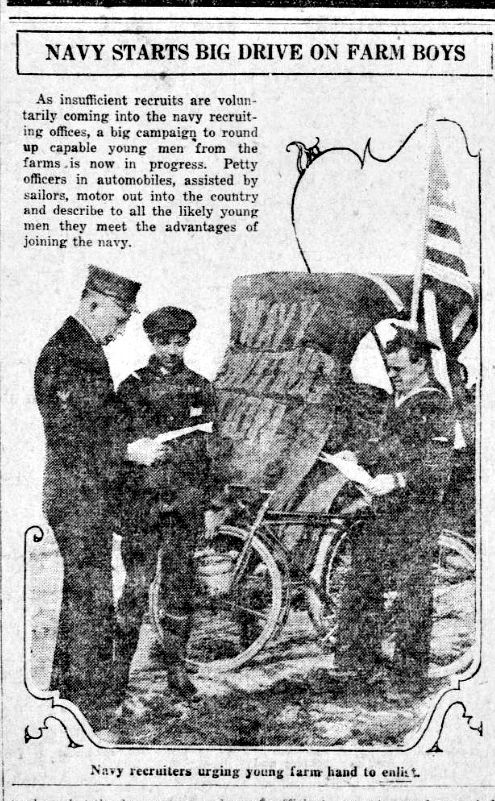 """WWI, 28 March 1917, US: """"Navy recruiters urging young farm hand to enlist"""" -Arizona Republican, Phoenix"""