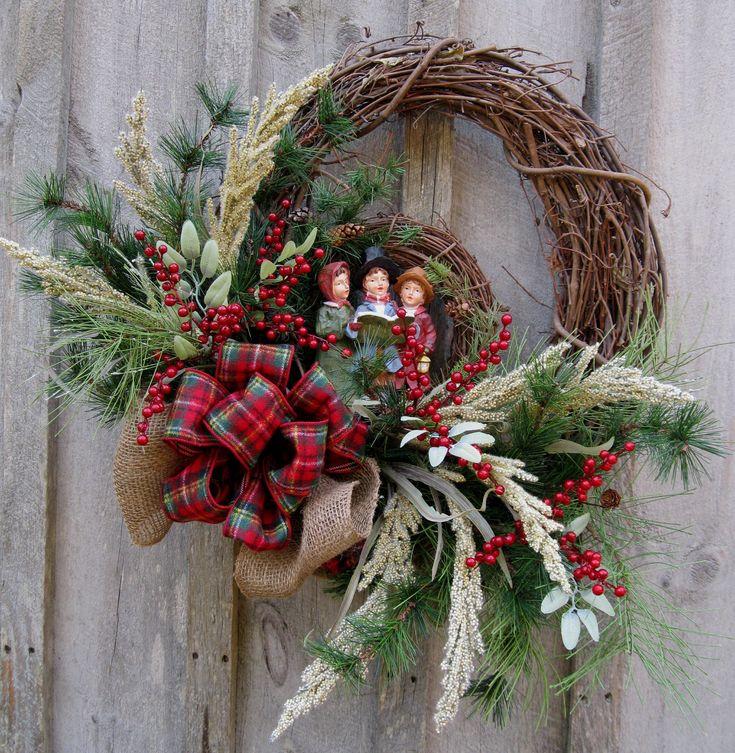 Christmas Wreath, Holiday Wreath, Dickens' Carolers, Woodland Country Christmas, Plaid Bow. $179.00, via Etsy.