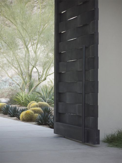 Woven Gate from McNae Desing - stunning and sculptural steel in a weave… not to mention the landscaping in this shot. craft meets design meets function perfection.