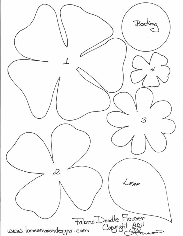 Free Printable Paper Flower Templates | scissors paper and sewing decorative edge if desired pencil pattern ... by katee