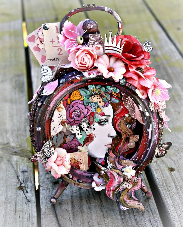 "Altered clock by Miranda Edney: ""I had so much fun with this new idea! I used all the colors and the flowers and inks a bit too, but mainly oil pastels. Prima Princesses and butterflies go so well together!"" ~ Miranda Edney #prima #princess #clock #flowers"