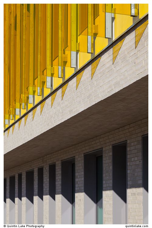 Yellow Glass fins of Engineering College of Aarhus (IHA Katrinebjerg) by C.F. Moller & Søren Jensen. Photo: Quintin Lake