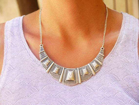 Petterned Silver Antique Metal Collar Necklace by FabLabCrafts