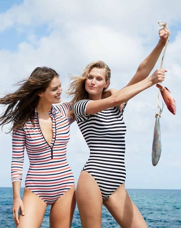 Introducing the next-level J.Crew women's one-piece. As in long sleeves, cap sleeves, zip front…the one-piece bathing suit like you've never seen it.