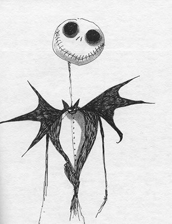 Jack Skellington by Tim Burton; i absolutely love Tim burton, i want this exact drawing as a tattoo