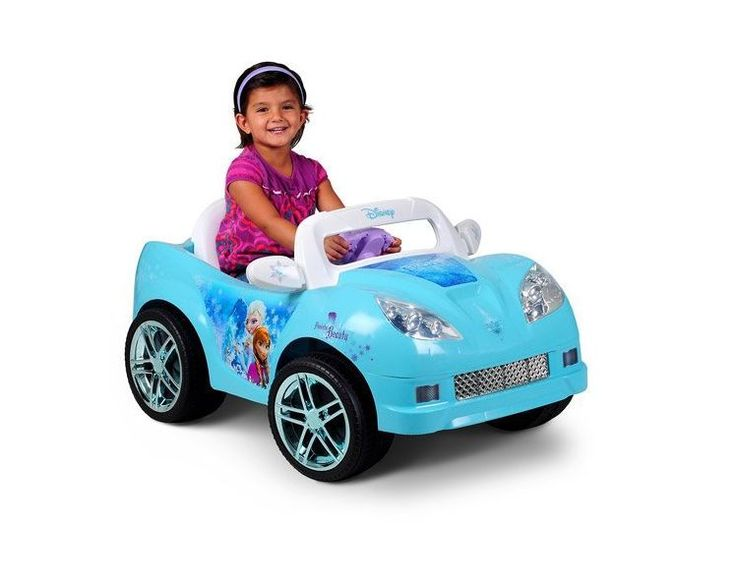 Disney frozen convertible car 6v battery power wheels for Motorized barbie convertible car