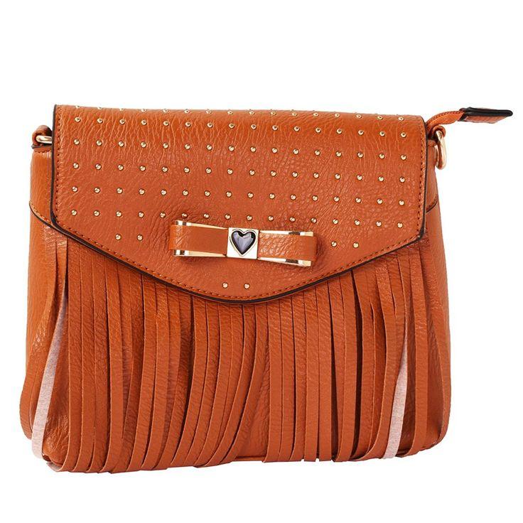 Schmick Tan PU Leather Cross Body Fringe Bag For Women