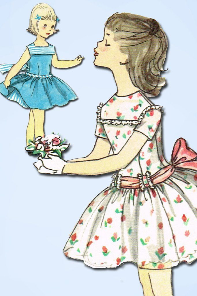 1950s Vintage Simplicity Sewing Pattern 1500 Toddler Girls Party Dress Size 5