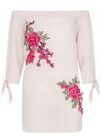 Womens *Quiz Pink Bardot Tie Sleeve Top- Pink