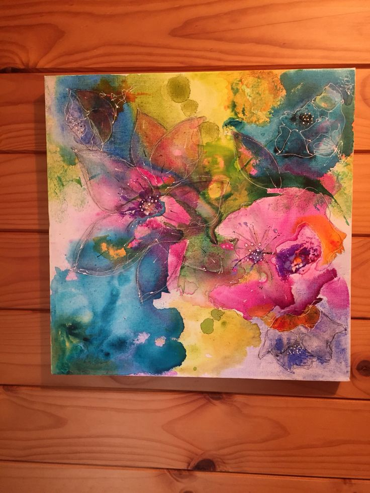 Floral inks and acrylics by Kristin Hyde
