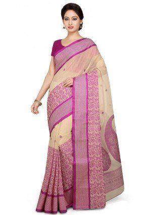 Handloom Tant Cotton Saree in Light Beige and Magenta