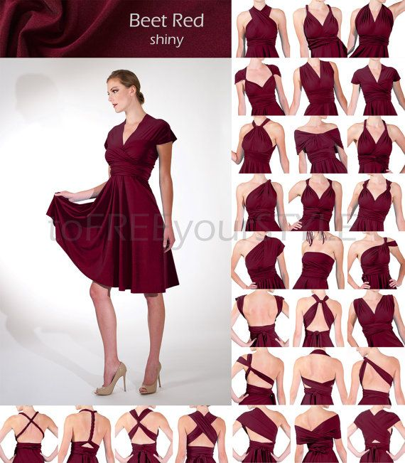 Short convertible dress in BEET RED shiny, FULL Free-Style Dress, convertible…