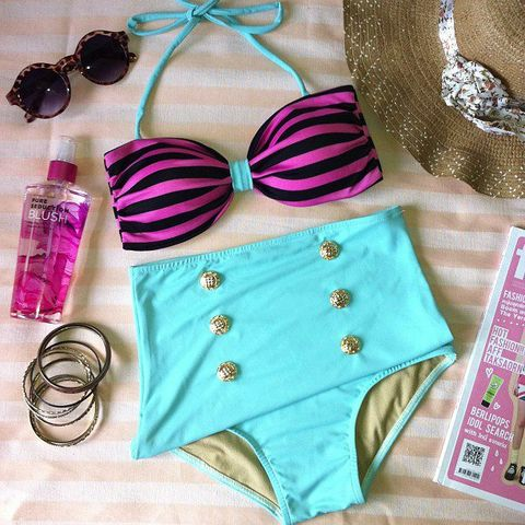 Think Blue and Pink- High Waisted Teal, Pink and Black Swimsuit  $70.00