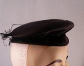vintage 30s hat in black silk, etsy