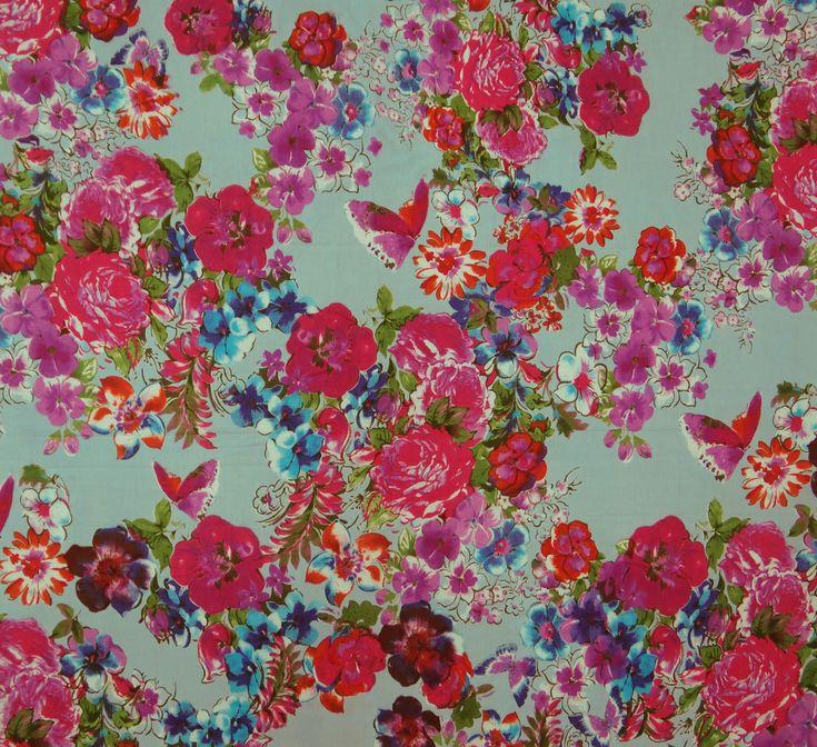 "Designer Indian Floral Print Cotton Fabrics 43"" Wide Dressmaking Fabric By 1 YD | eBay"
