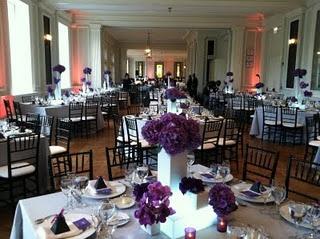 black chiavari chairs, light gray tablecloths, white place settings