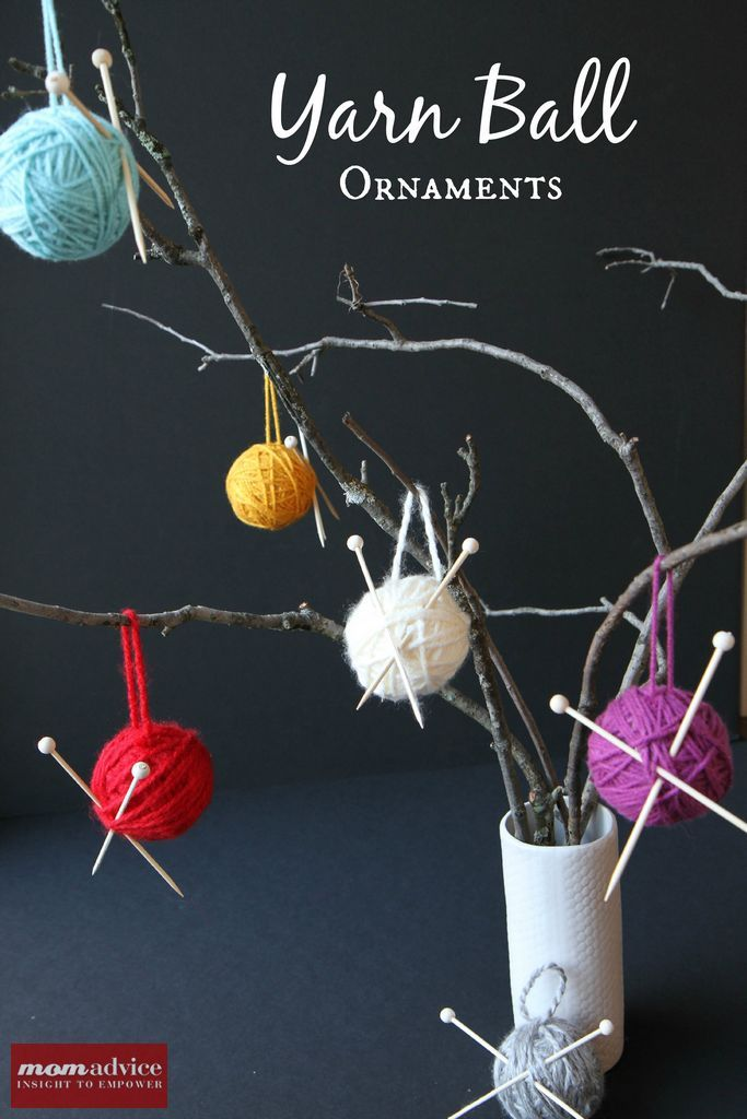 Easy Yarn Ball Ornaments from MomAdvice.com.